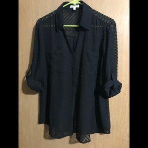 Express Sheer Stripe Portofino Shirt
